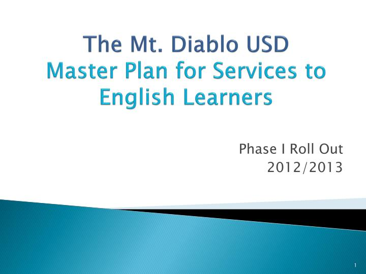 the mt diablo usd master plan for services to english learners n.