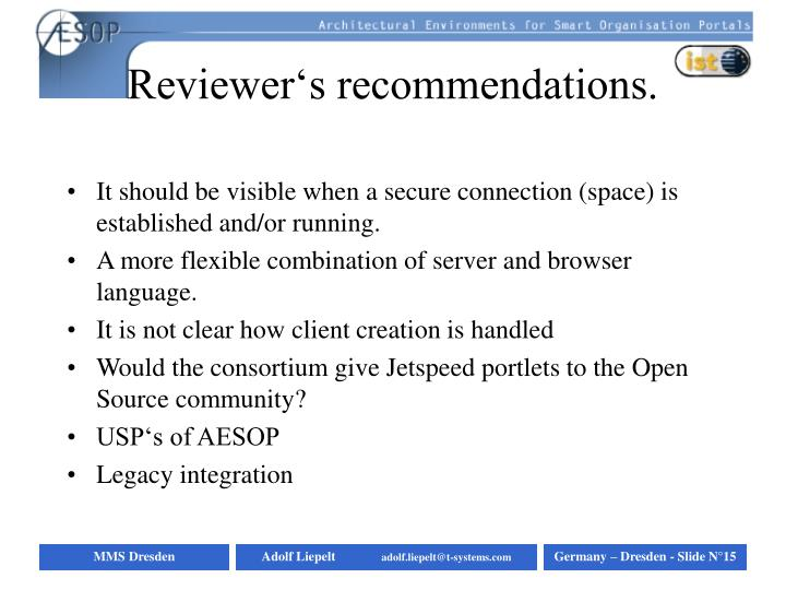 Reviewer's recommendations.