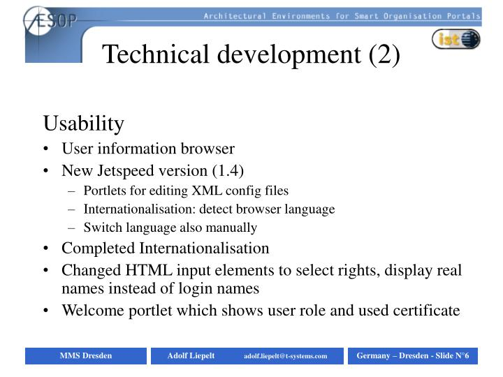 Technical development (2)