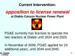 current intervention opposition to license renewal at diablo canyon nuclear power plant