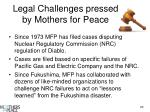 legal challenges pressed by mothers for peace