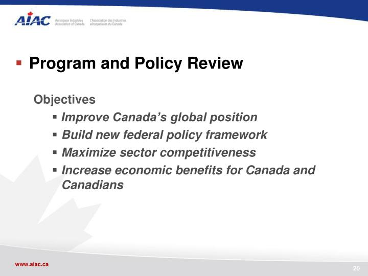 Program and Policy Review