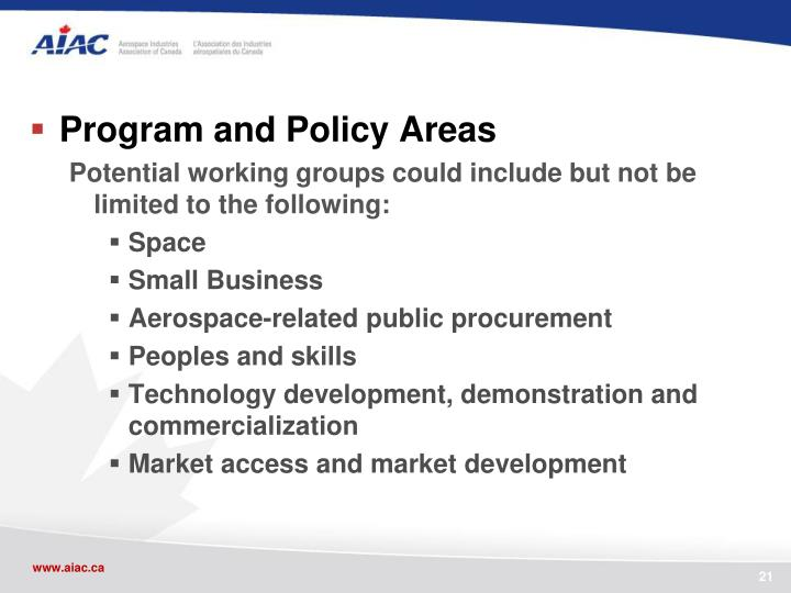 Program and Policy Areas