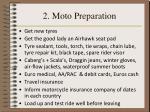 2 moto preparation