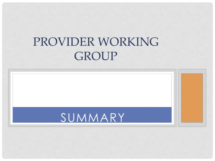 provider working group n.