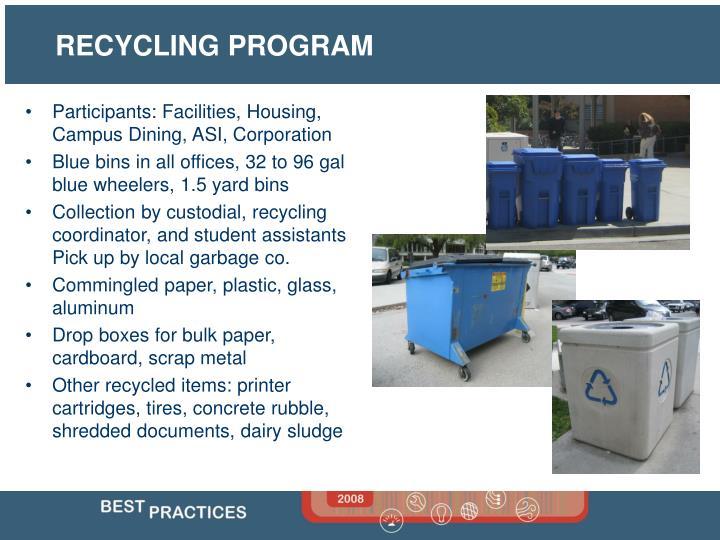 Participants: Facilities, Housing, Campus Dining, ASI, Corporation