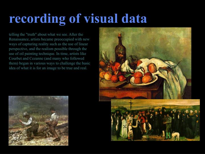 recording of visual data