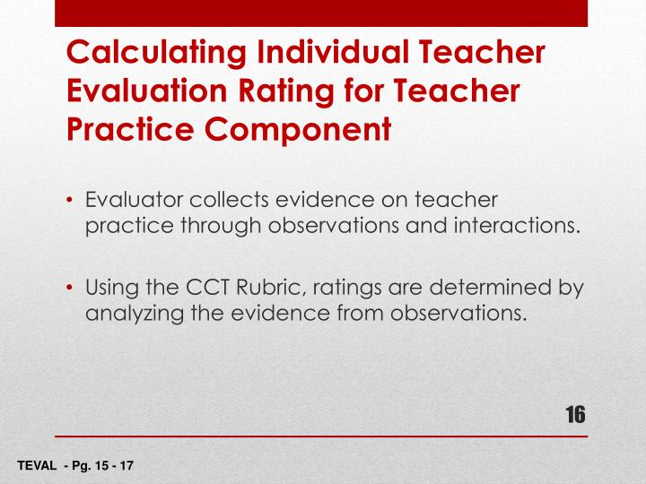 Calculating Individual Teacher Evaluation Rating for Teacher Practice Component