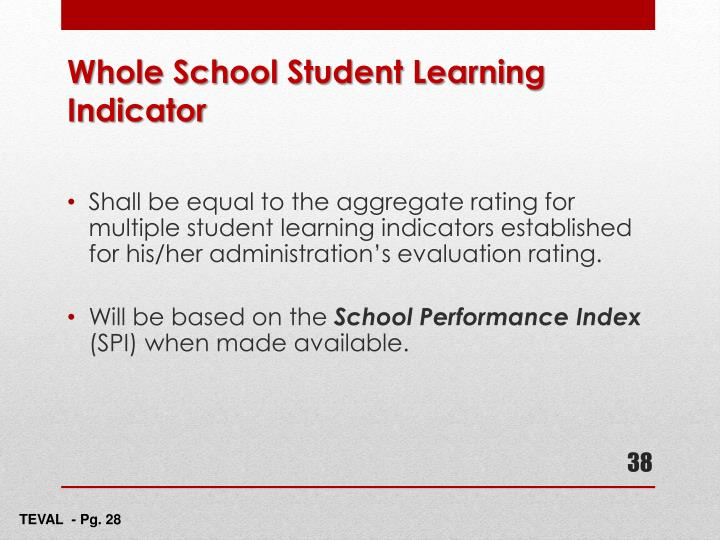 Shall be equal to the aggregate rating for multiple student learning indicators established for his/her administration's evaluation rating.
