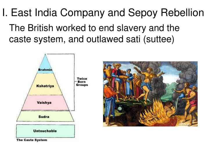 I. East India Company and Sepoy Rebellion
