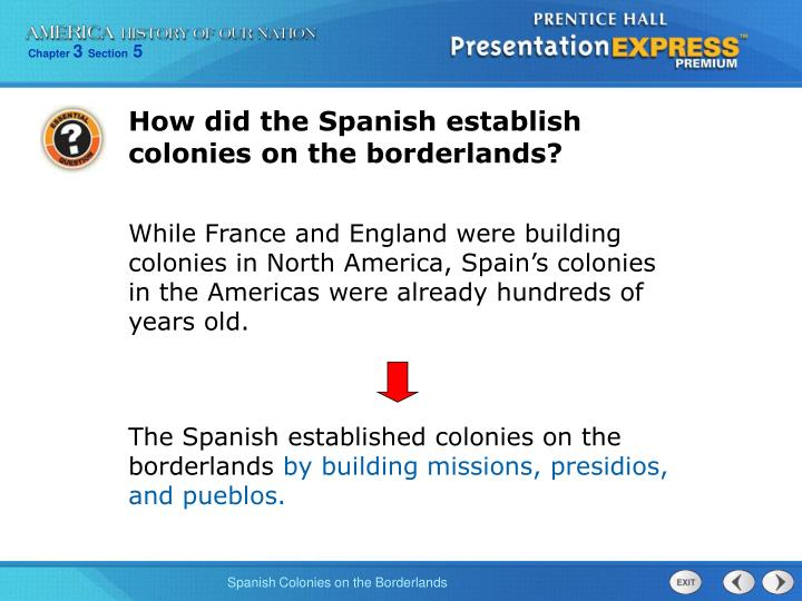 How did the Spanish establish colonies on the borderlands?
