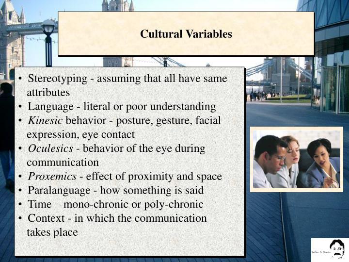 Cultural Variables