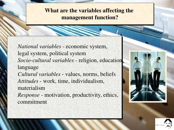 What are the variables affecting the