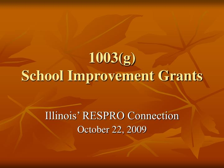 1003 g school improvement grants n.