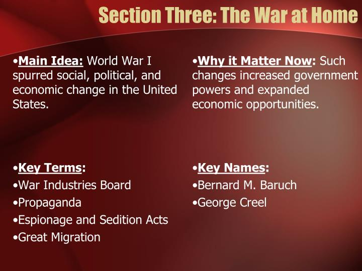 Section Three: The War at Home