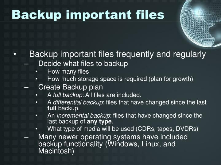 Backup important files