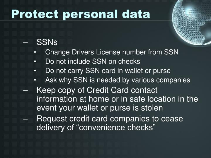 Protect personal data