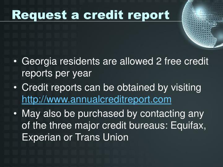Request a credit report