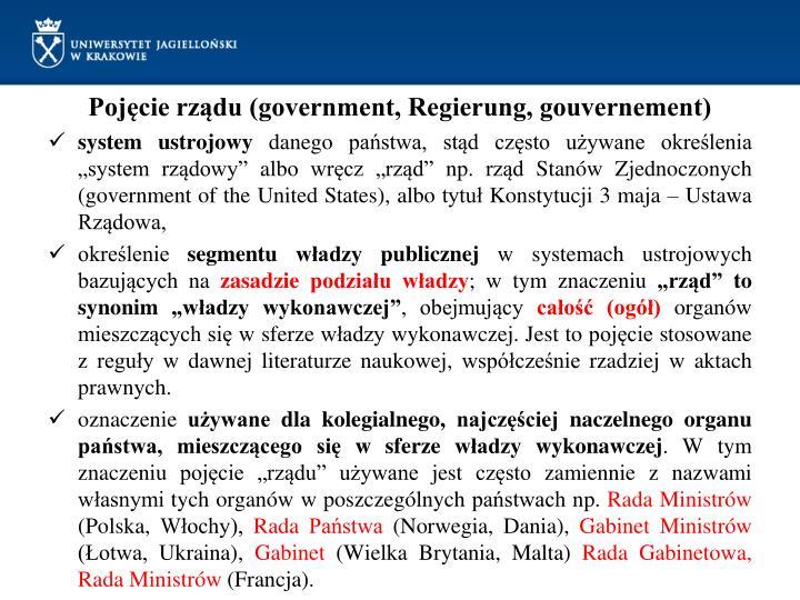 Pojęcie rządu (government, Regierung, gouvernement)