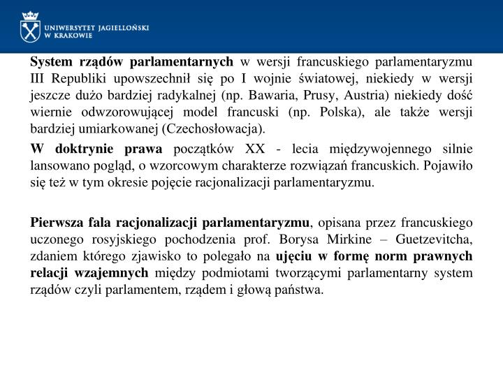 System rządów parlamentarnych