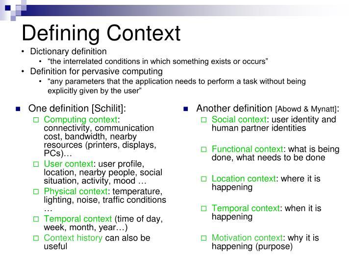 Defining context