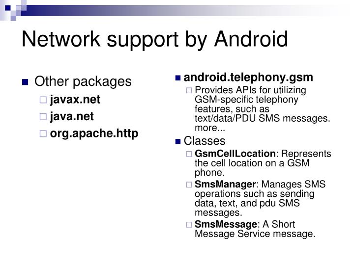 Network support by Android