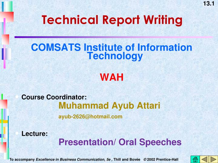technical report writing n.