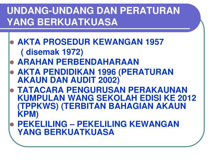 Undang undang dan peraturan yang berkuatkuasa