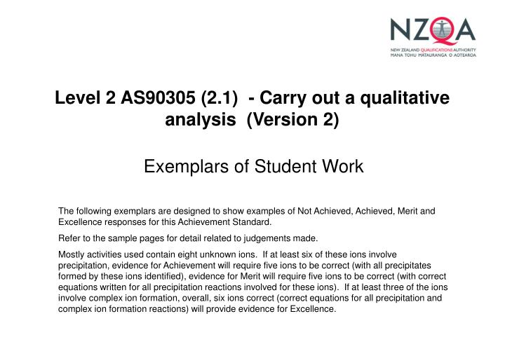 level 2 as90305 2 1 carry out a qualitative analysis version 2 n.