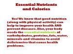 essential nutrients and calories