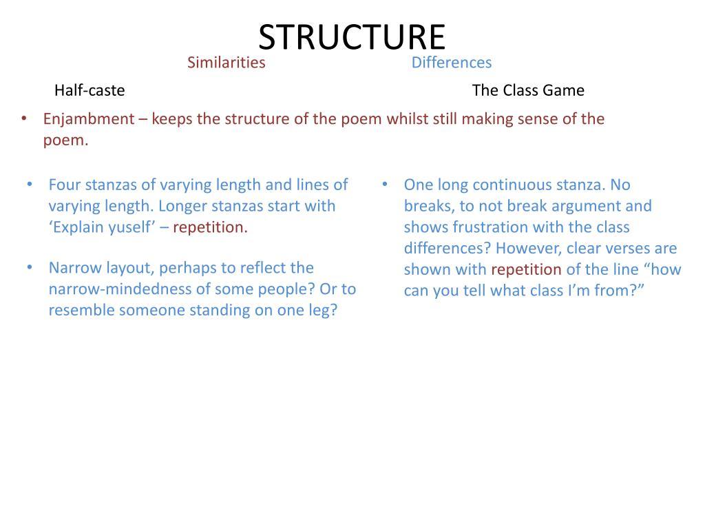 Ppt Poem A Half Caste By John Agard Poem B The Class