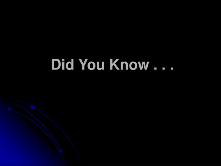 did you know n.