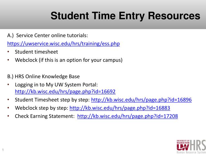 student time entry resources n.