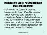 manajemen rantai pasokan supply chain management