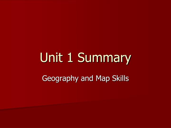 unit 1 summary n.