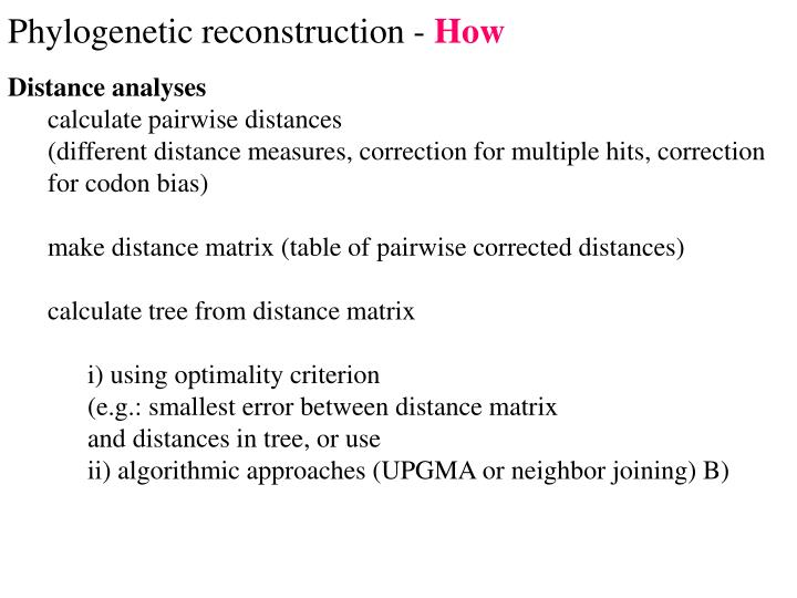 phylogenetic reconstruction how n.