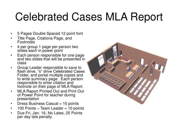 celebrated cases mla report n.