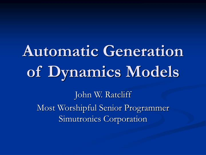 automatic generation of dynamics models n.