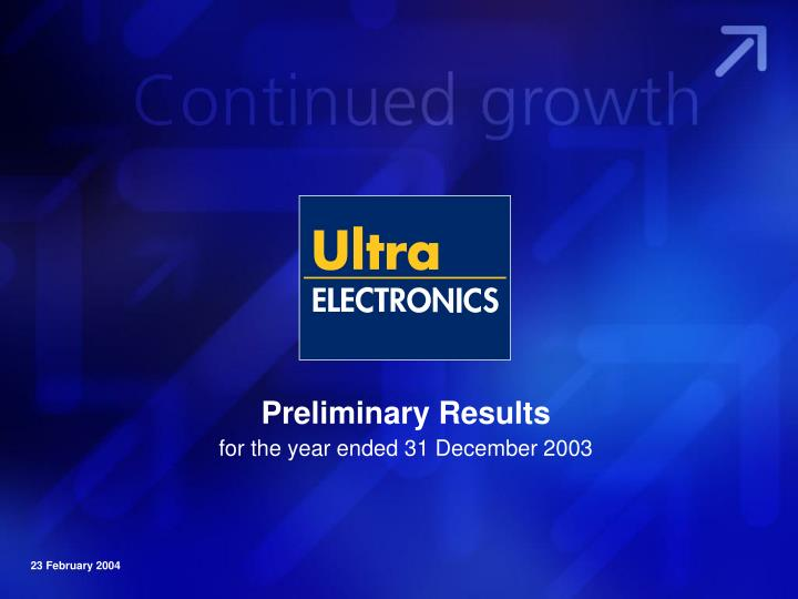 preliminary results for the year ended 31 december 2003 n.