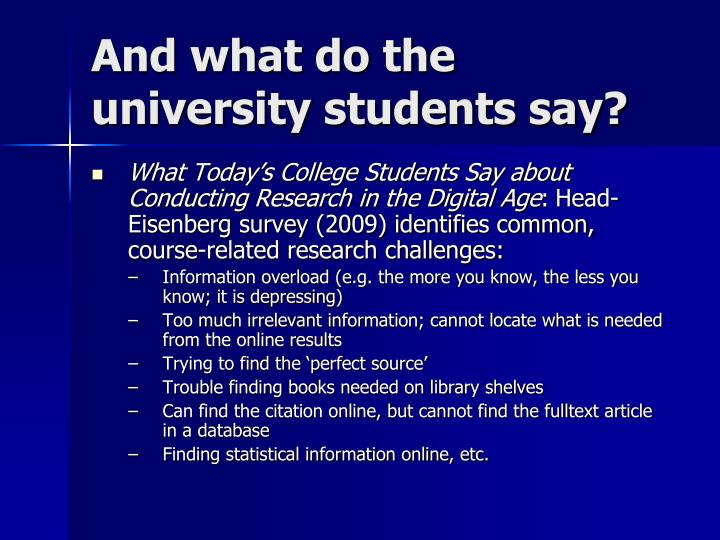 And what do the university students say?