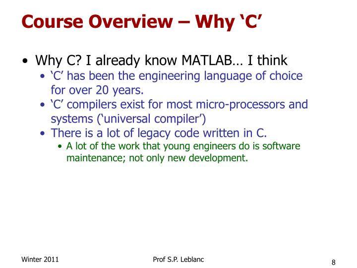 Course Overview – Why 'C'