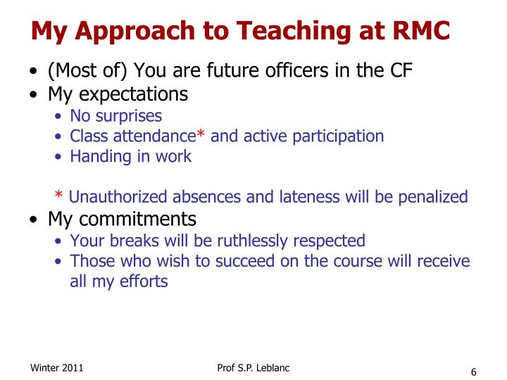 My Approach to Teaching at RMC