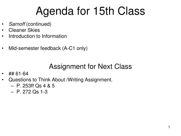 agenda for 15th class n.