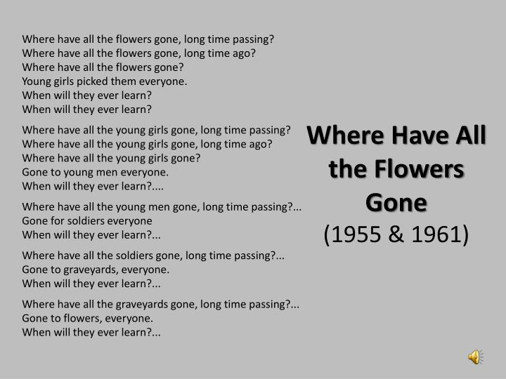where have all the flowers gone 1955 1961 n.
