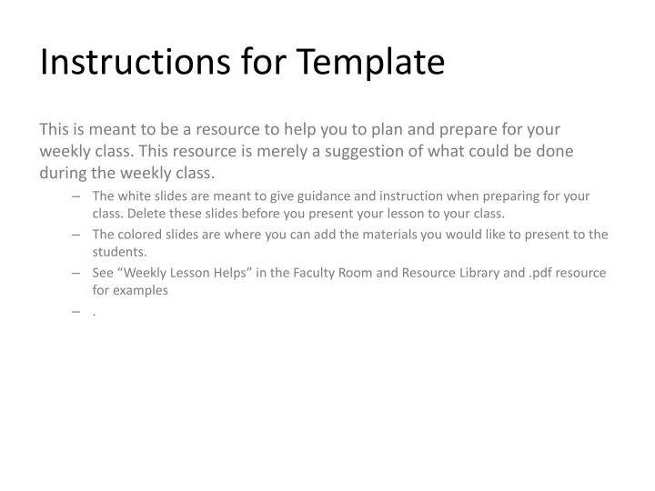 instructions for template n.