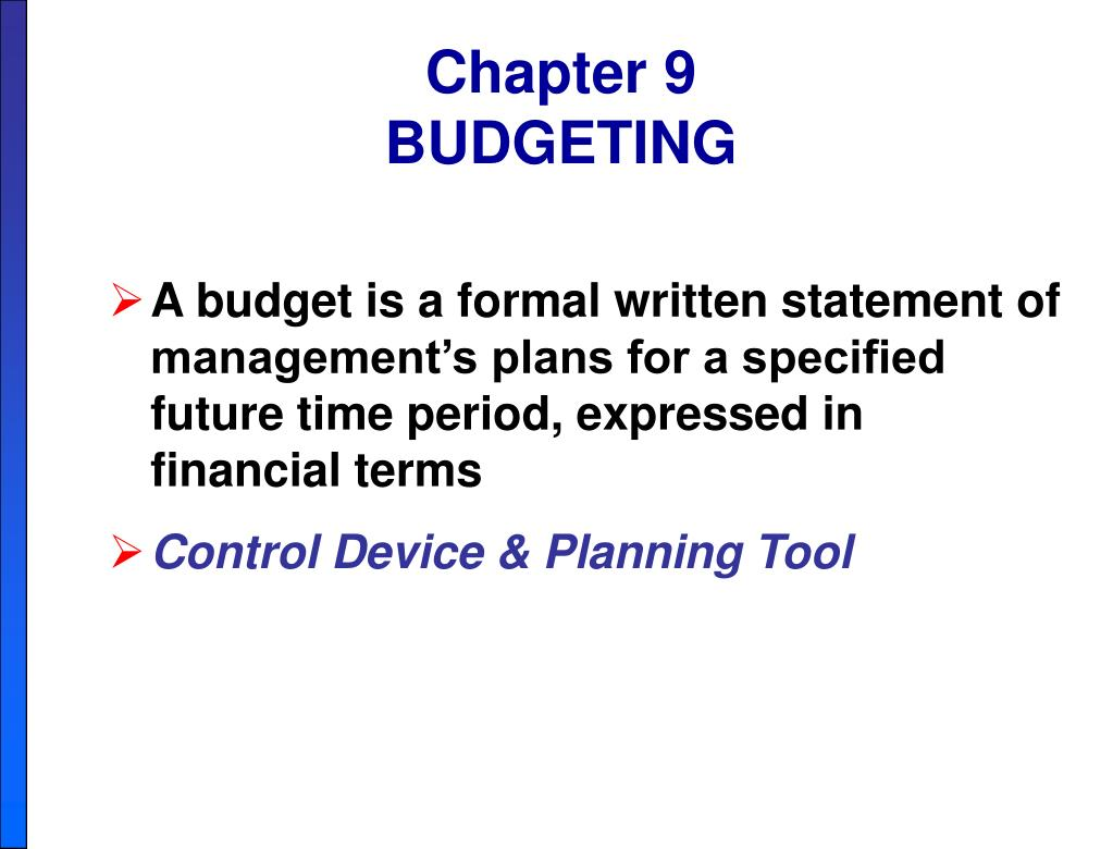 ppt chapter 9 budgeting powerpoint presentation id 6178248