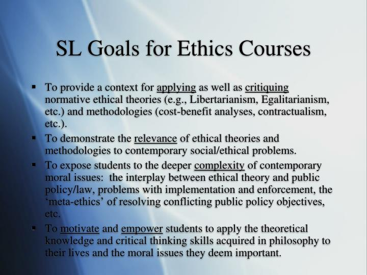 SL Goals for Ethics Courses