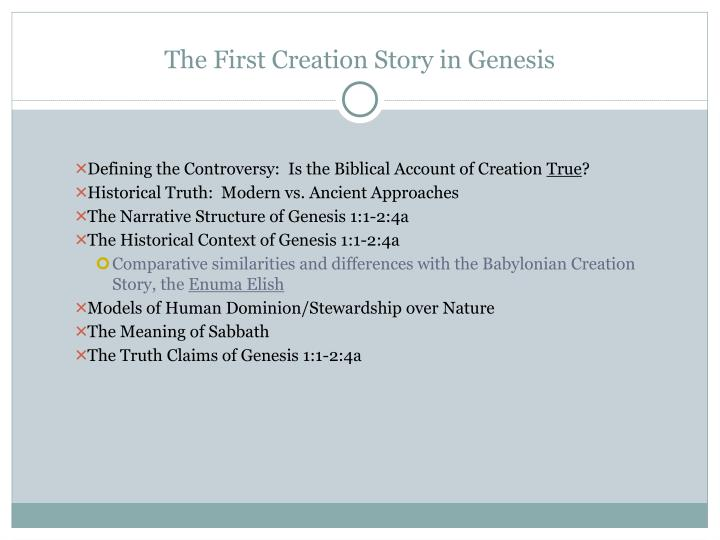 The First Creation Story in Genesis