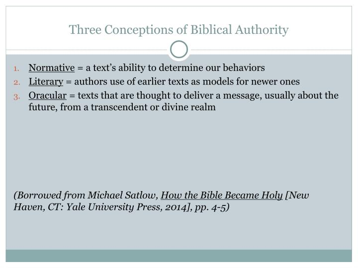Three Conceptions of Biblical Authority