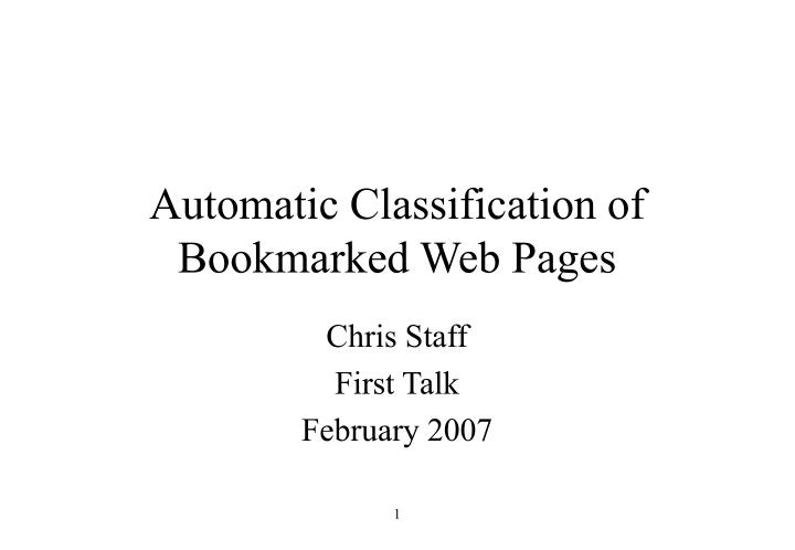 automatic classification of bookmarked web pages n.
